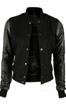 Viparo black varsity jacket with lambskin leather sleeves - acanthia by VIPARO Product photo