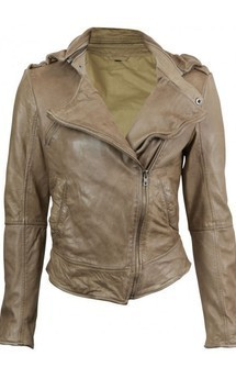 Viparo latte taupe premium nz asymmetrical biker lambskin leather  jacket - kendall by VIPARO Product photo