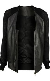 Viparo black leather bomber jacket with mesh sleeves - rodie by VIPARO Product photo