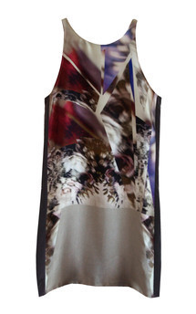 Grey digital print silk dress by Silence Beyond Syllables Product photo