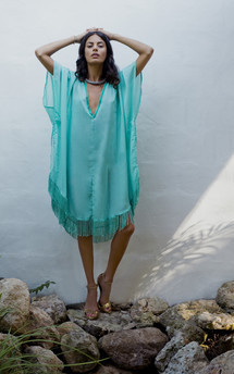 Tassle kaftan in mint green by Dancing Leopard Product photo