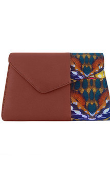 Tan leather clutch bag with african print by Mefie Product photo