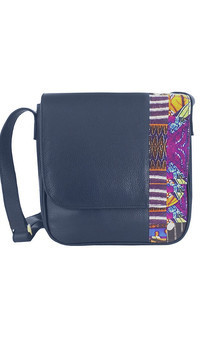 Blue leather cross body bag by Mefie Product photo