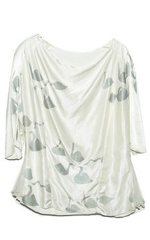 Silver swan silk blouse by SLC-SLC Product photo
